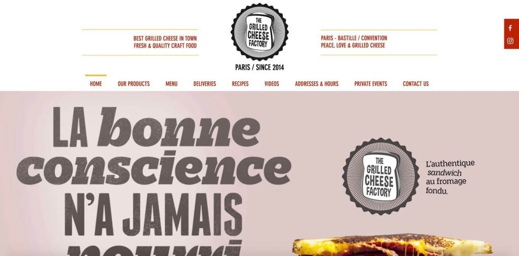 grilled cheese factory homepage